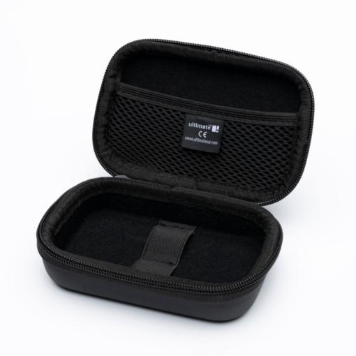 Open empty black hard pouch for earplugs